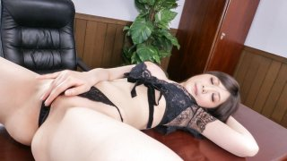 Sexy Asian in lingerie blows cock on cam - LingerieAV