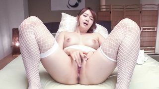 Yui Nishikawa loves spinning the toy in her holes  - AVStockings