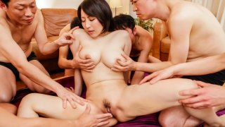 Sexy mature Yuuna Hoshisaki gets creamed in an asian gangbang - GangAV