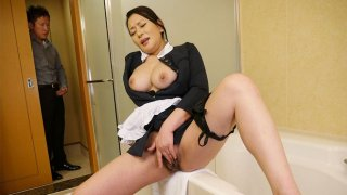 Naughty maid Rei Kitajima caught masturbating - Japan HDV