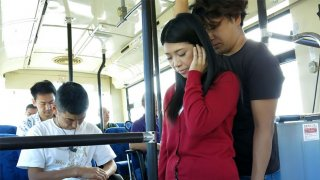 Busty Aimi Nagano is fucked in a bus gangbang - Japan HDV